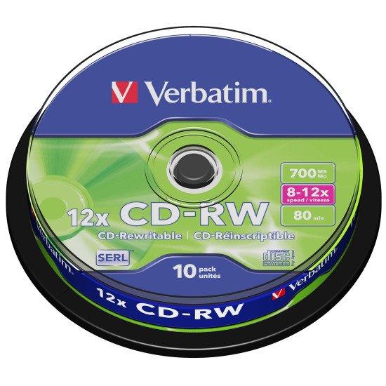 CD vierge réinscriptible Verbatim CD-RW (boite de 10)