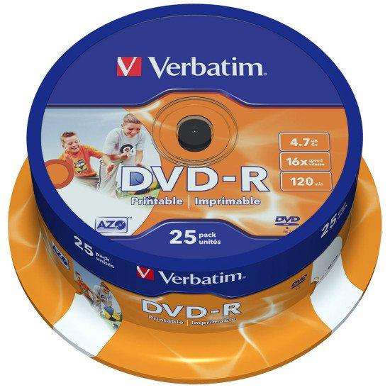 DVD vierge verbatim dvd-r  16x 25p. imprimable
