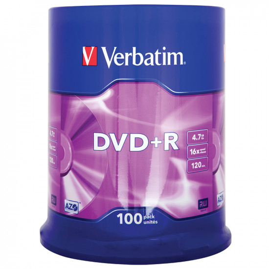DVD vierge Verbatim DVD+R 16x. (boite de 100)