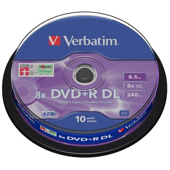 DVD vierge verbatim dvd+r double couche 8x 10p.