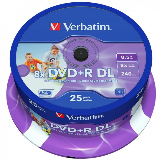DVD vierge verbatim DVD+R double couche imprimable 8x 25p.