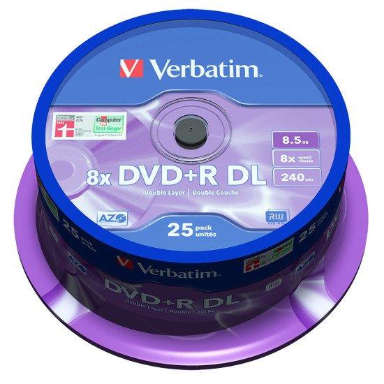 DVD vierge verbatim DVD+R double couche 8x 25p.
