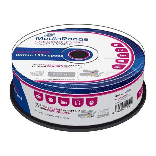CD vierge mediarange imprimable 700MB 52x 25p.