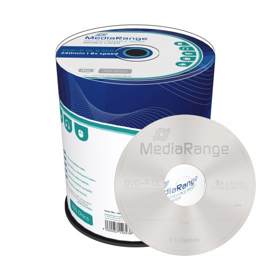DVD vierge mediarange. dvd+r double couche 8x 100p.