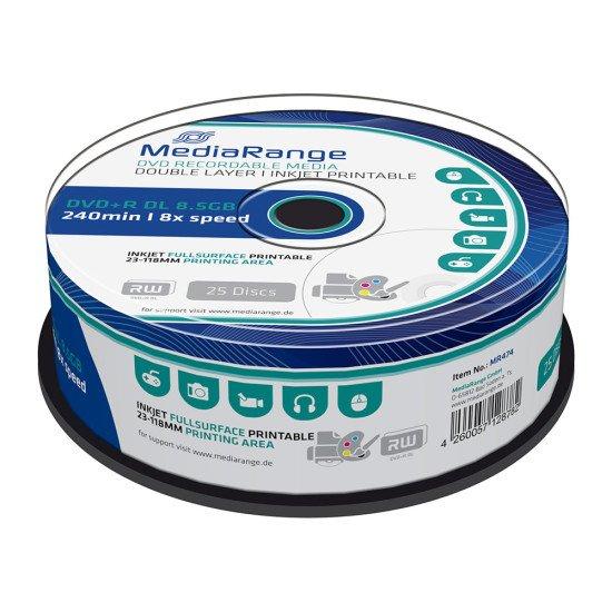 DVD vierge mediarange DVD+R double couche imprimable 8x (boite de 25)