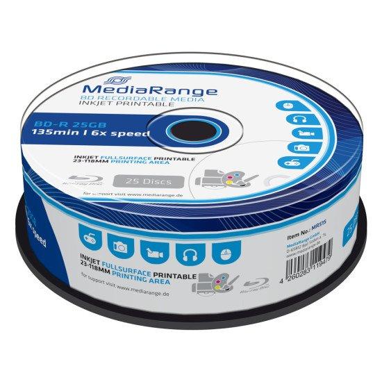 MediaRange Blu-ray vierge BD-R 6x 25Go imprimable (boite de 25)