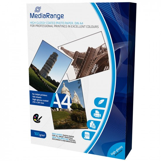 Mediarange papier photo brillant A4 160g 100 feuilles