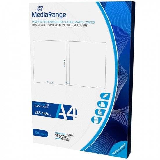 Mediarange Jaquette Blu-ray pour boitier 11mm 50p.