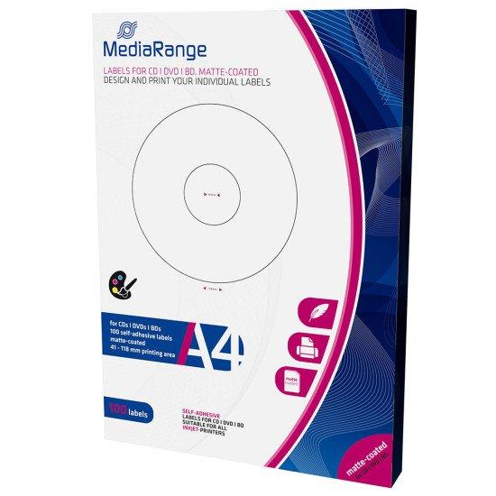 Mediarange étiquettes pour CD/DVD/BDR 41-118mm 100p.