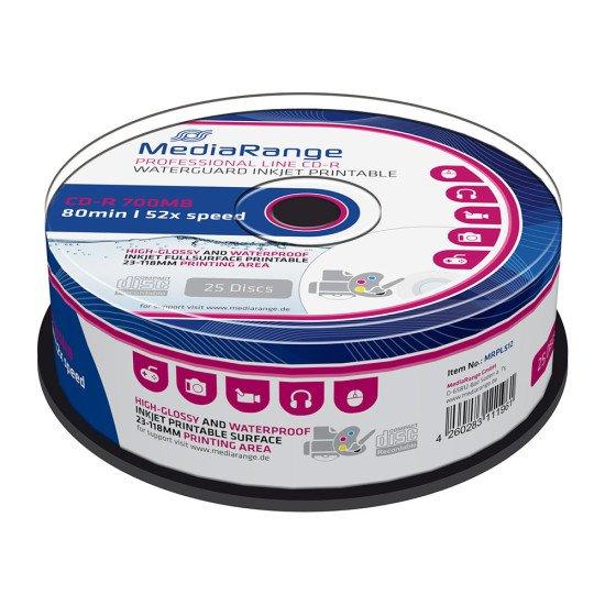 DVD vierge Mediarange DVD-R 16x Waterguard imprimable 25p.