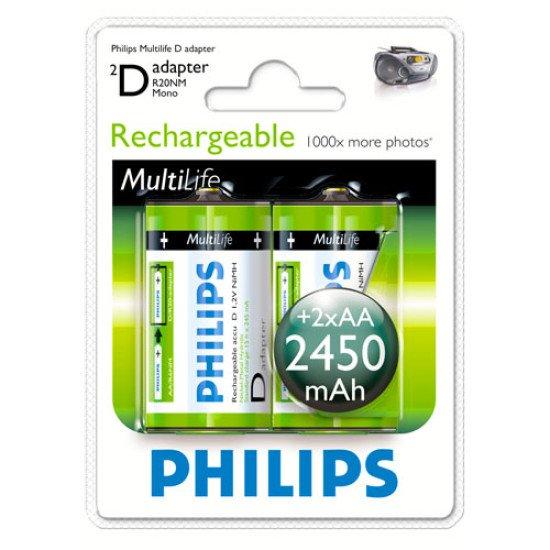 Philips piles rechargeables D 2450 mAh 2p.