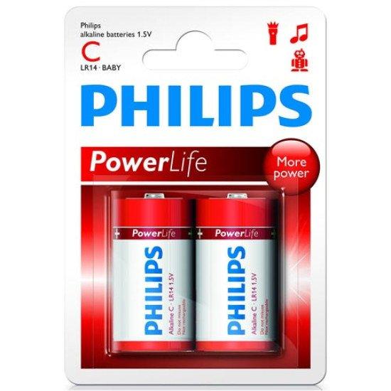 Philips piles alcalines LR14-C 2p.