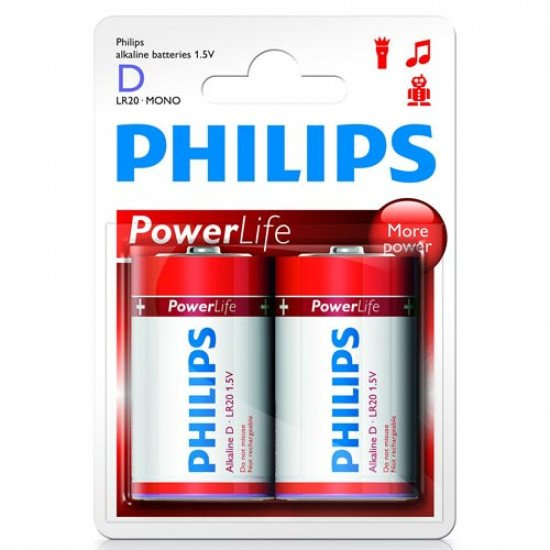 Philips piles alcalines LR20-D 2p.