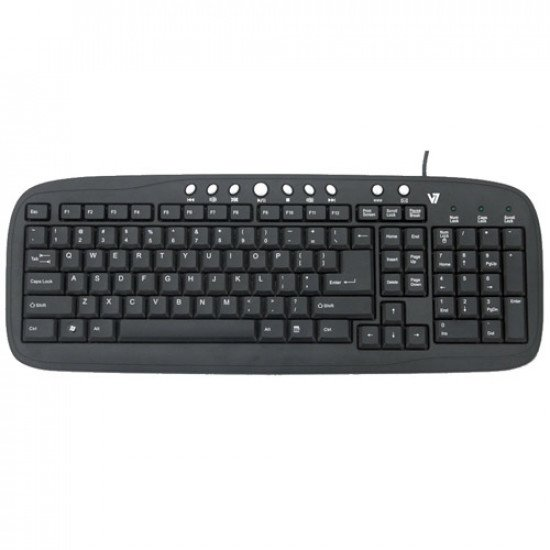 V7 Clavier Multimédia Noir USB Azerty BE