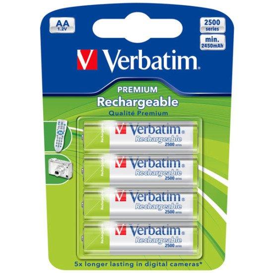 Verbatim piles rechargeables 2450mAh AA-LR06 4p.