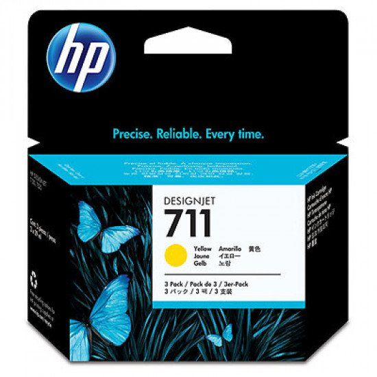 HP 711 3-pack 29-ml Yellow Ink Cartridges / CZ136A Cartouche encre / Jaune