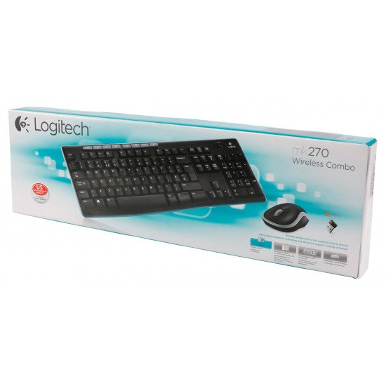Logitech LGT-MK270 ensemble clavier et souris sans fil Noir QWERTY US Int