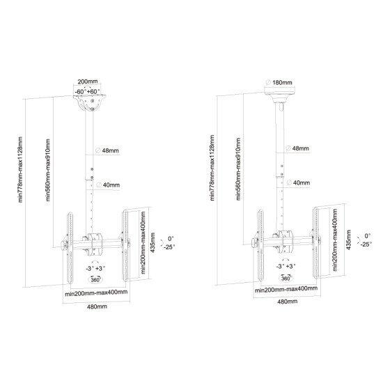 Newstar NM-C440BLACK Support de plafond écrans plat