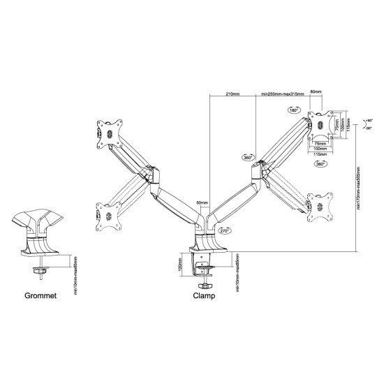 Newstar NM-D750DSILVER Support de bureau écrans plat