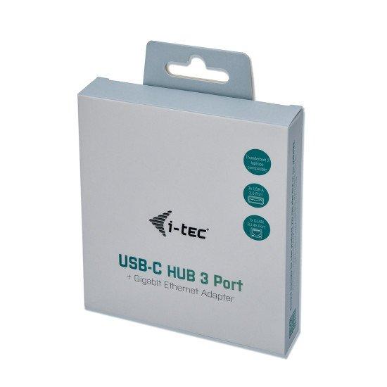 i-tec Metal Concentrateur Ethernet HUB USB-C avec 3 ports + Adaptateur Gigabit Ethernet