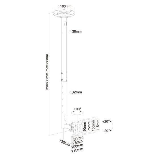 Newstar FPMA-C050SILVER Support de plafond écrans plat