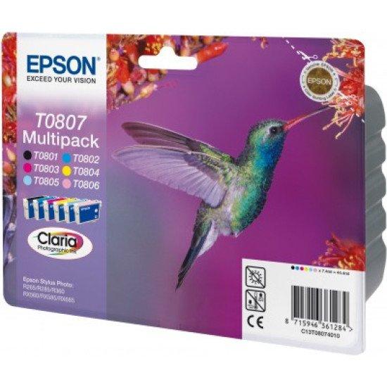 Epson T0807 Pack de 6 cartouches Noir, Cyan, Magenta, Jaune, Cyan clair, Magenta clair